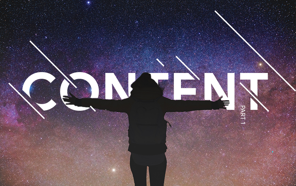 A man stands in front of a starry sky, with the word 'Content' blazed across it