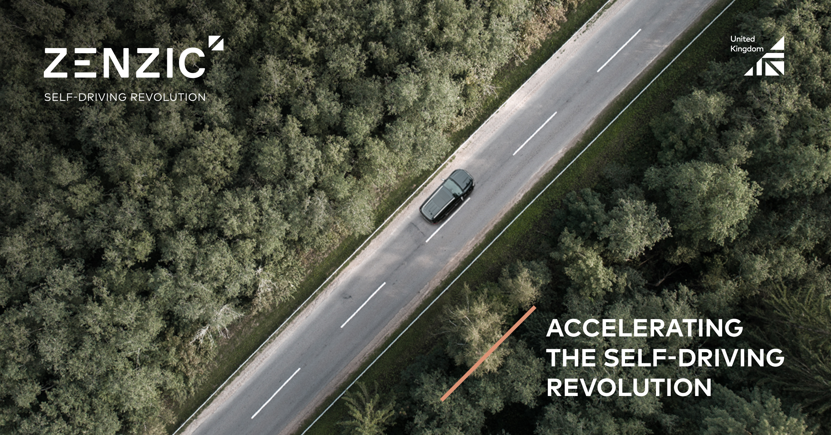 Zenzic - Accelerating the self-driving revolution. Branding on a photo of a road bisecting a forest
